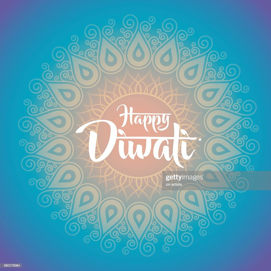 Happy Diwali With Ornament Of Henna Vector Art Getty Images