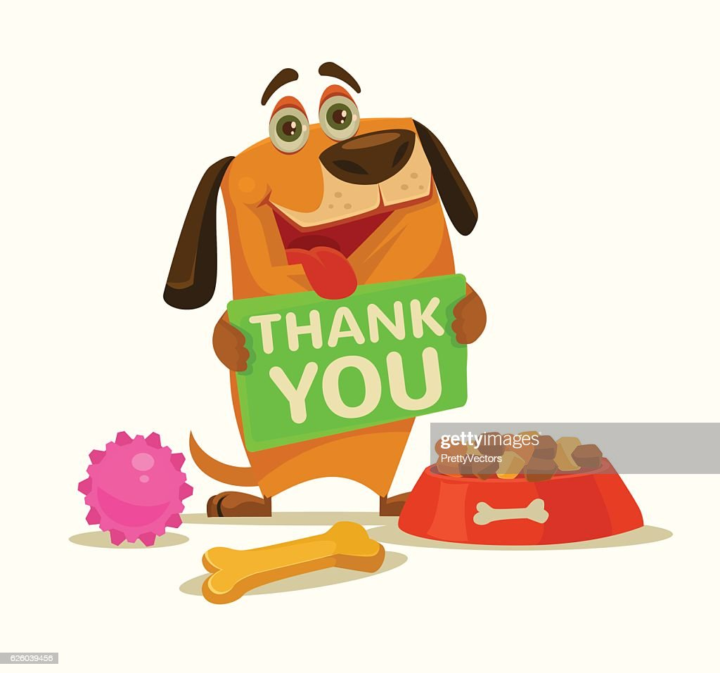 Happy dog character hold plate with thank you words