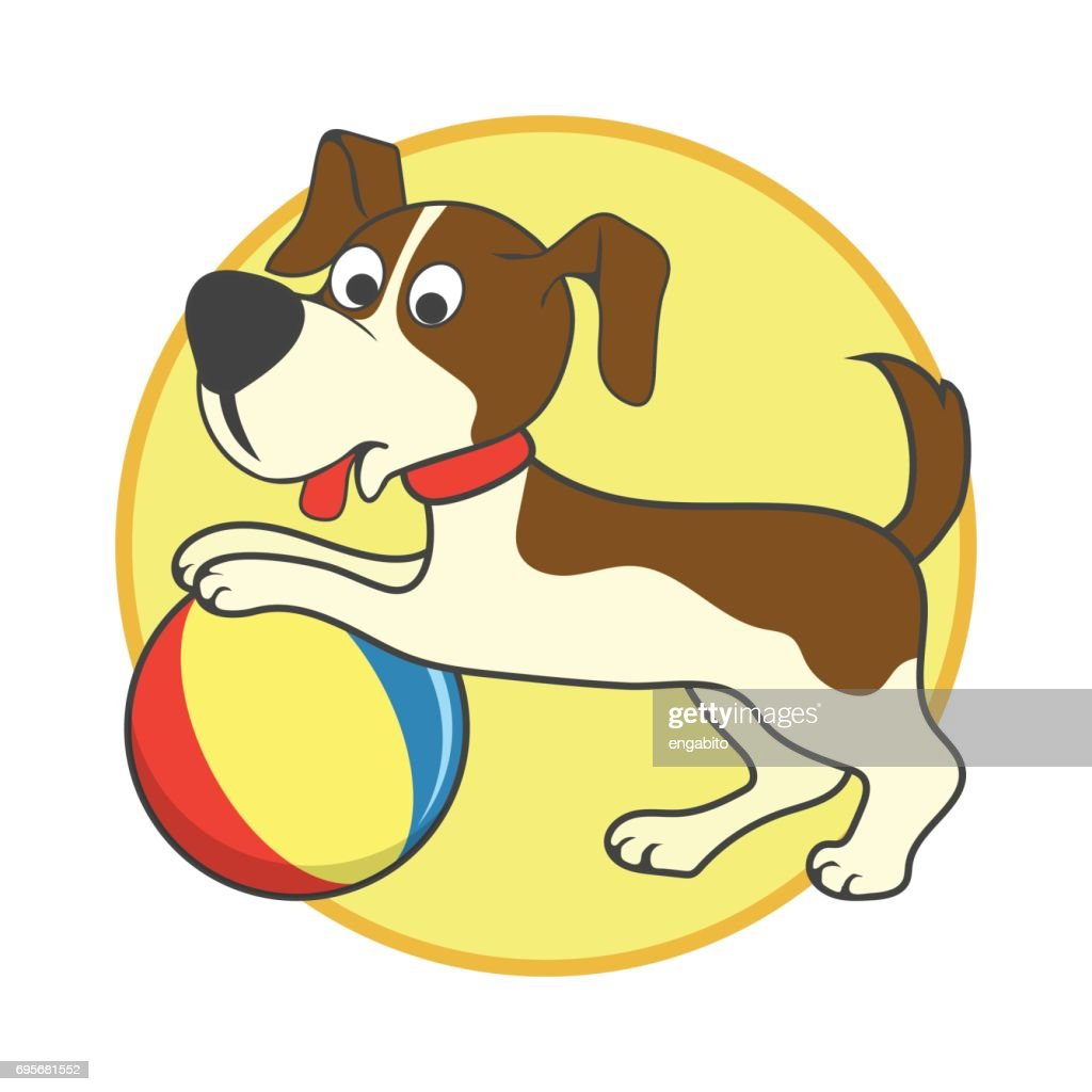 happy dog playing a ball / pet toys accessories. vector illustration