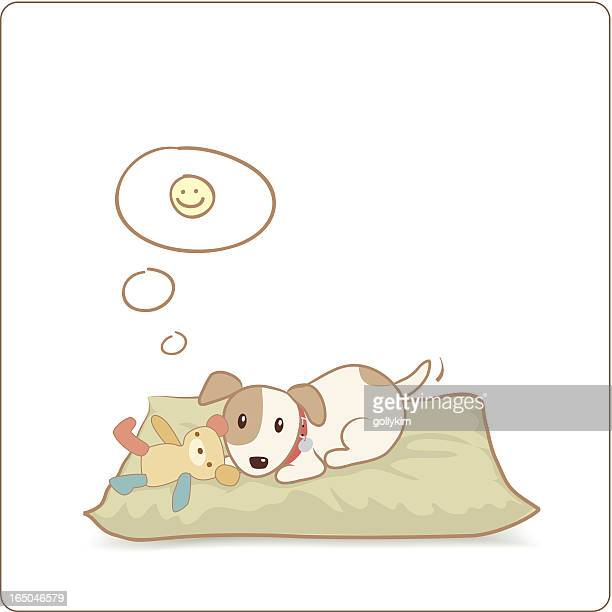 happy dog with his toy on bed - dog toys stock illustrations