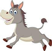 Happy donkey cartoon jumping