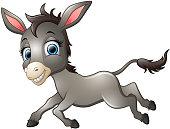 Happy donkey cartoon running