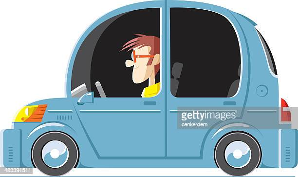 happy driver and his swanky car - street racing stock illustrations, clip art, cartoons, & icons