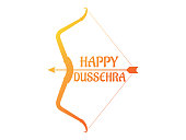 Happy Dussehra background decorated with silhouette bow and arrow - Dussehra or Navratri Shubh