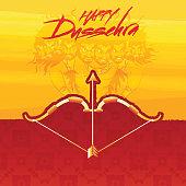 Happy Dussehra background, golden bow-arrow with Demon Ravana face for Indian festival celebration concept.