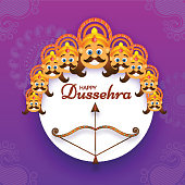 Happy Dussehra festival poster or template design with illustration of Demon Ravana face with his ten heads and brown Bow-Arrow.