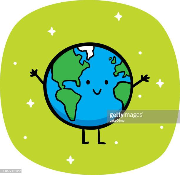 illustrazioni stock, clip art, cartoni animati e icone di tendenza di happy earth doodle - globo terrestre