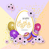 Happy Easter, Abstract background with 3d eggs and flowers
