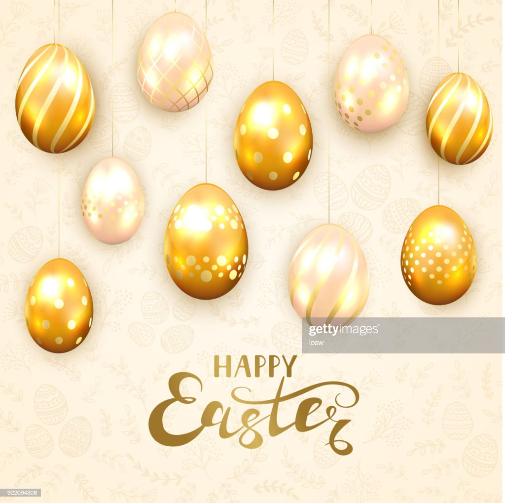 Happy Easter and golden eggs on beige background