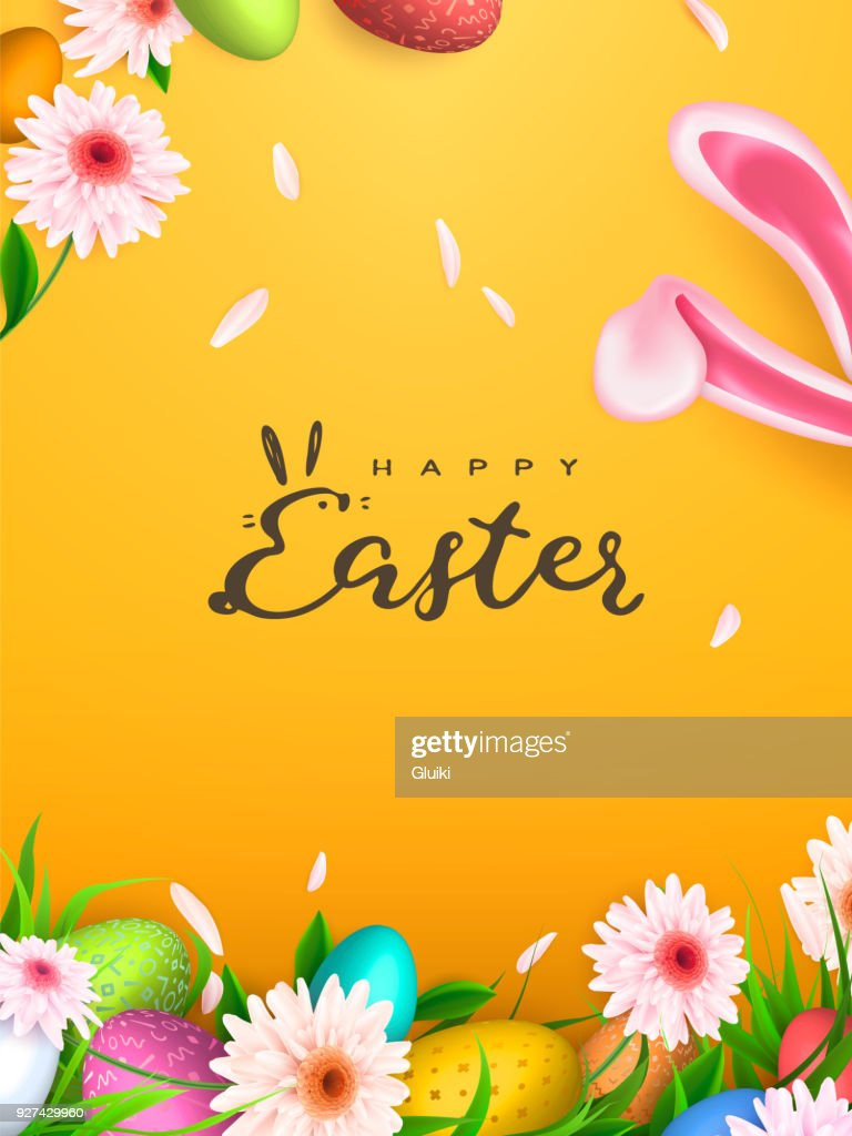 Happy Easter background, trendy Eggs. Spring holiday design. Vector illustration.