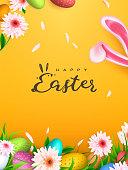 Happy Easter background, trendy Eggs. Spring holiday design. Vector illustration.