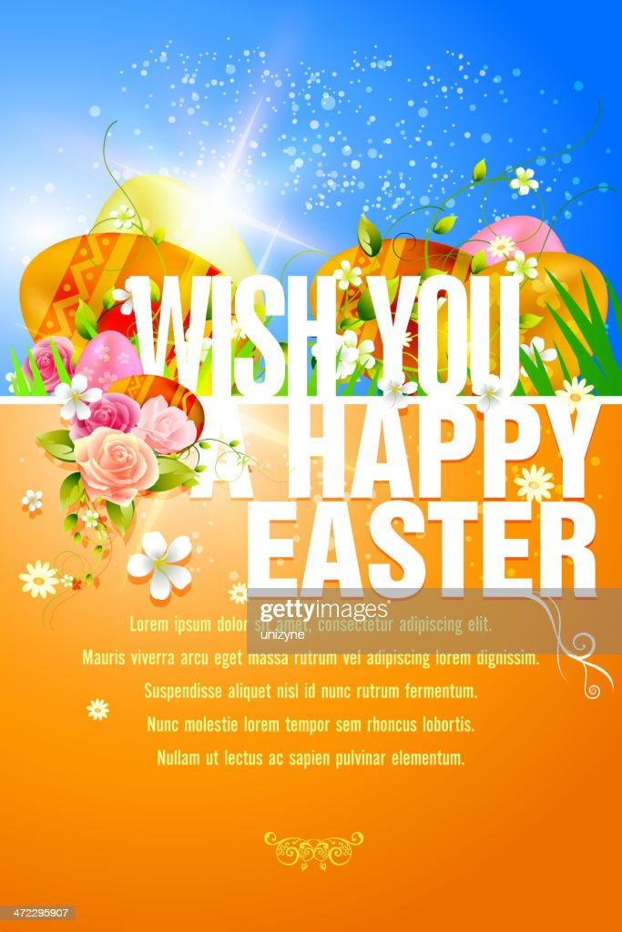 Happy Easter Background with Copy Space : Vector Art