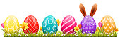 Happy easter background with easter eggs and easter bunny