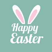 Happy easter background with typography and rabbit ears. Vector design