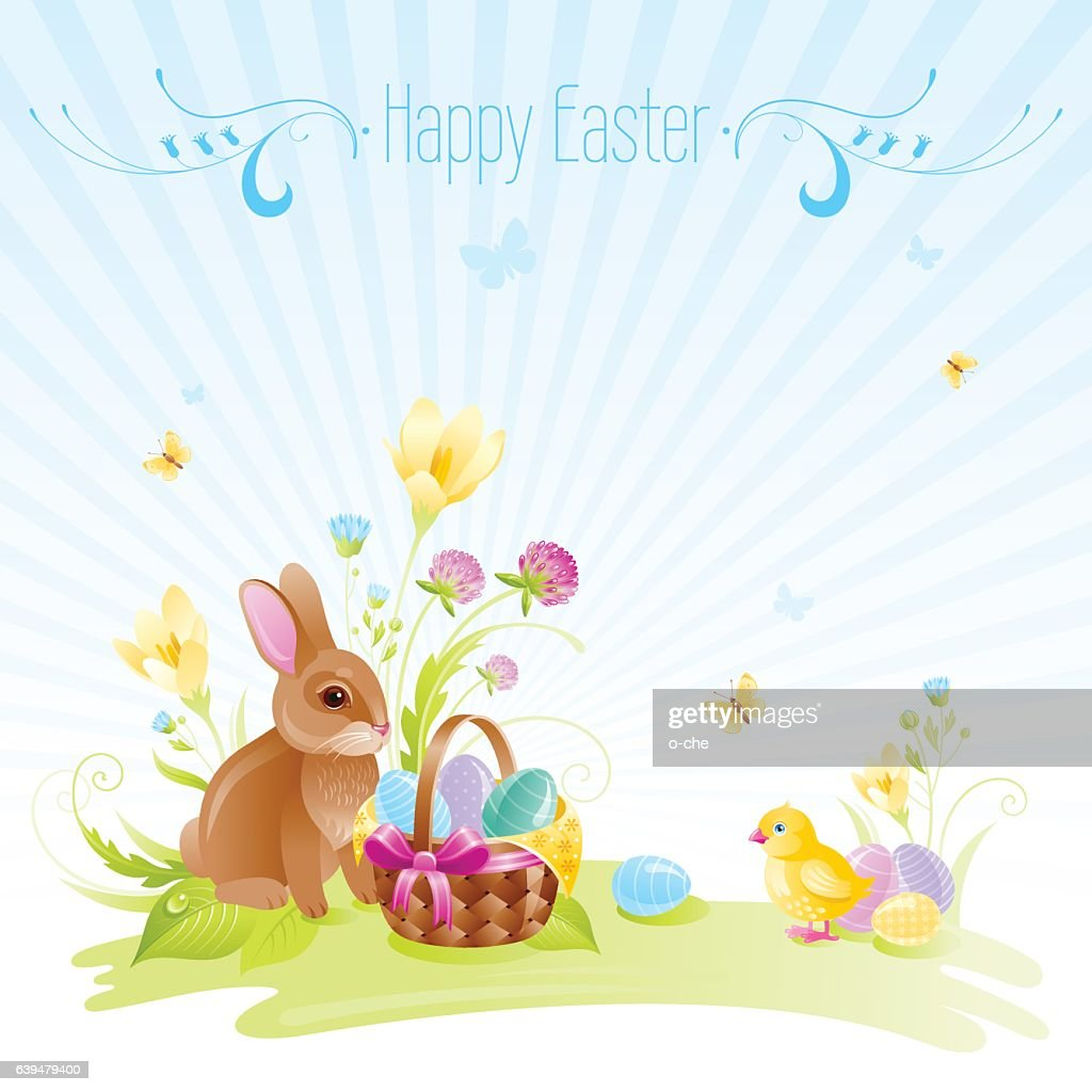 Happy Easter Banner Border Bunny Eggs Spring Flowers Vector