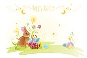 Happy Easter banner border. Bunny, eggs, spring flowers. Vector illustration