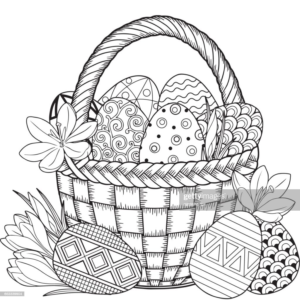Happy Easter. Black and White Doodle Easter Eggs in the basket.