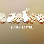 Happy Easter Bunnies and Eggs