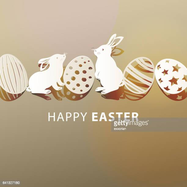 happy easter bunnies and eggs - easter stock illustrations, clip art, cartoons, & icons
