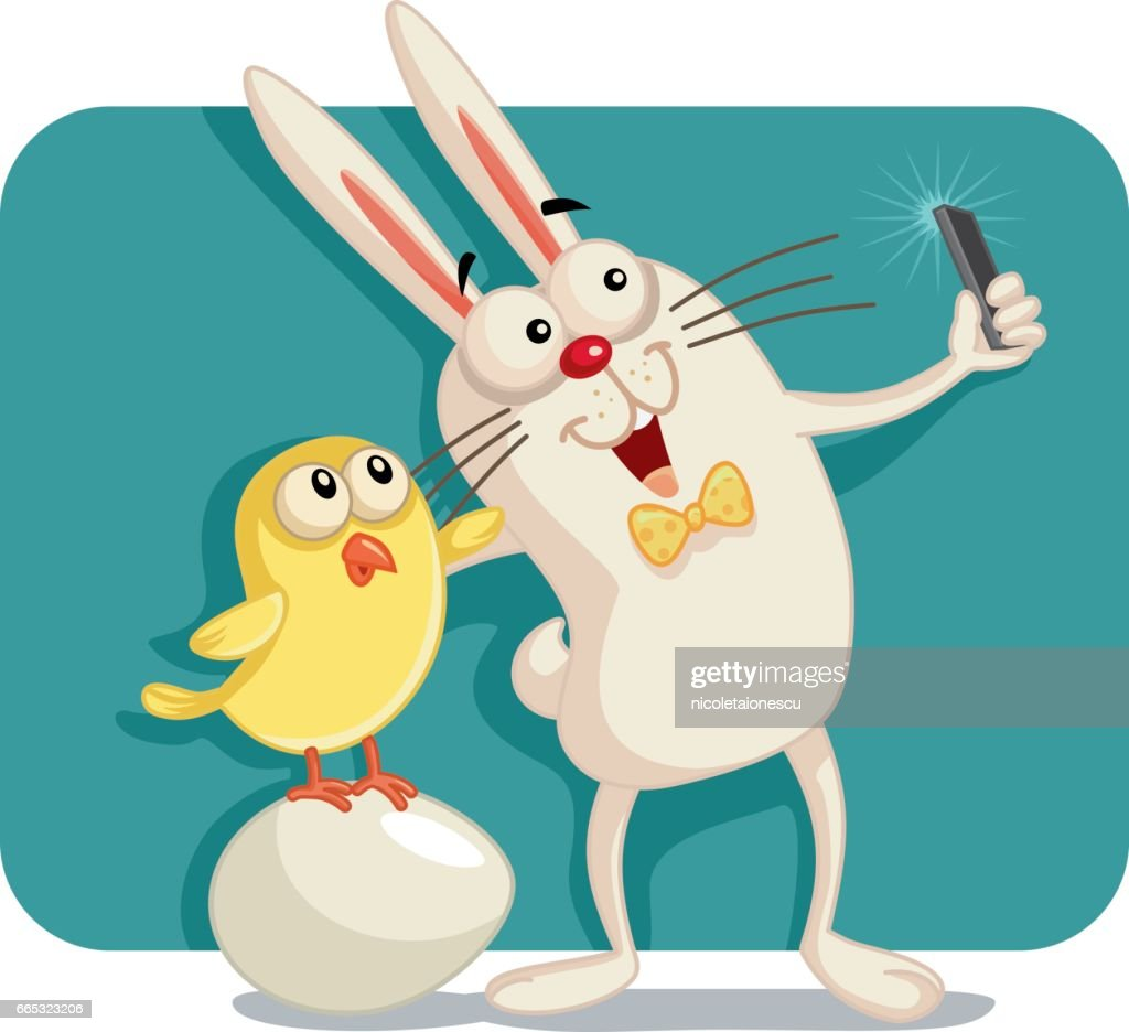 Happy Easter Bunny and Chick Taking a Selfie Together