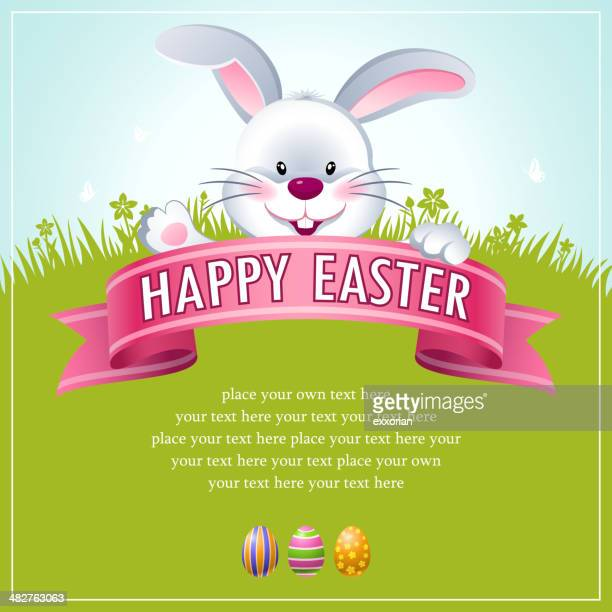 happy easter bunny banner - easter bunny stock illustrations