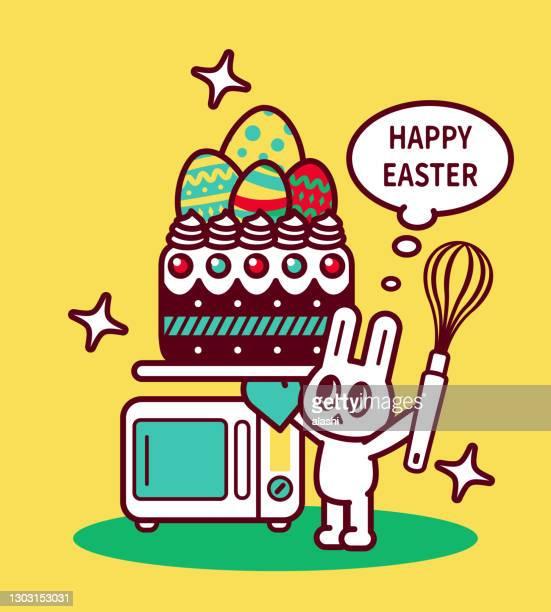 ilustraciones, imágenes clip art, dibujos animados e iconos de stock de feliz chef de conejo de pascua sosteniendo un batidor de alambre y usando un guante de horno que lleva un pastel de pascua con huevos de pascua en él, un horno detrás - roscadepascua