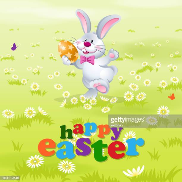 happy easter bunny dancing - easter bunny stock illustrations