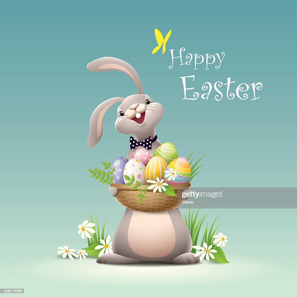 Happy Easter - bunny holding basket full of eggs