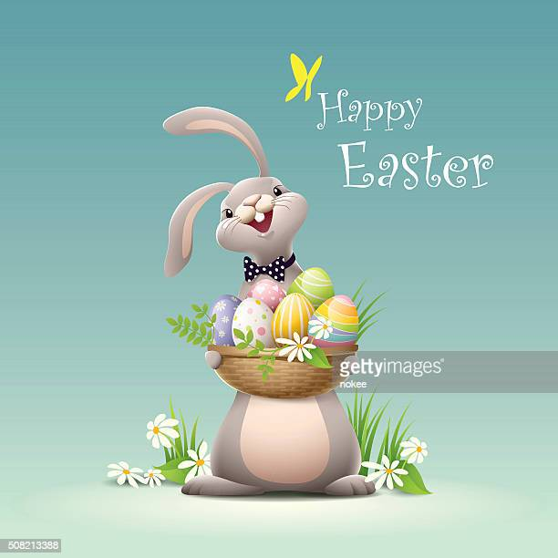 happy easter - bunny holding basket full of eggs - easter stock illustrations