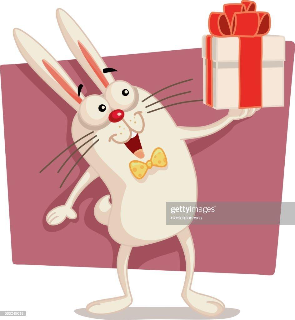 Happy Easter Bunny Holding Gift Box Vector Cartoon