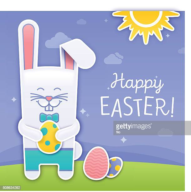 happy easter bunny - easter bunny costume stock illustrations, clip art, cartoons, & icons
