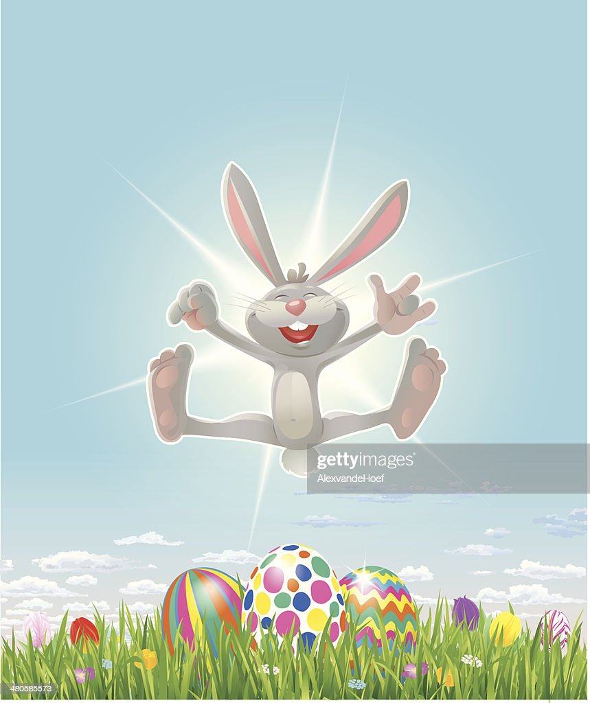 Happy Easter Bunny with Eastereggs Grass and Tulips : stock illustration