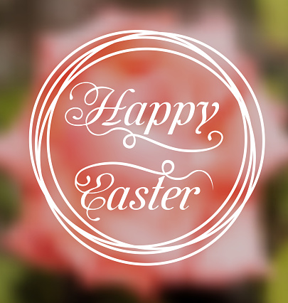 Happy Easter calligraphic headline, blurred background 622516460