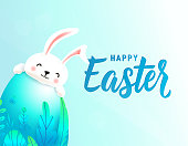 Happy easter card with big 3d spring leaves egg behind which smiling cute rabbit is hiding. Text lettering sign for greeting holiday background. Vector illustration