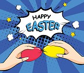 Happy Easter card with color eggs and hands. Comics style