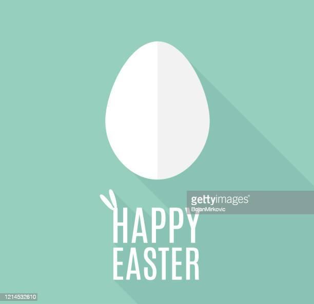 illustrazioni stock, clip art, cartoni animati e icone di tendenza di happy easter card with paper egg in flat design. vector - pasqua
