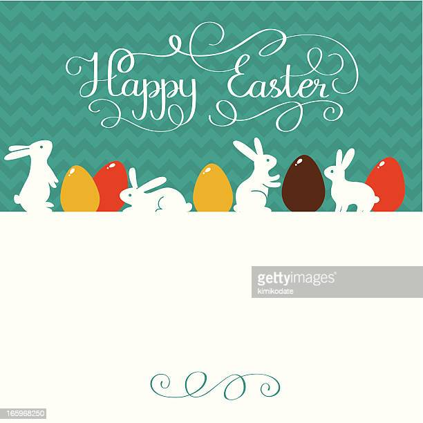 Happy Easter card with rabbits and lettering