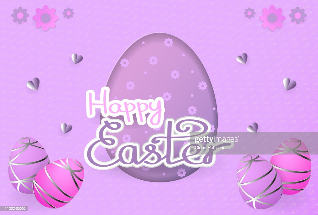 Happy Easter card with text, hearts, easter eggs, flowers in pink and purple colors.