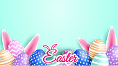 Happy easter celebration. Colorful easter egg on mint green soft background ,light and shadow . Vector.