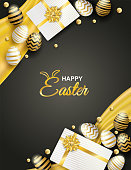 Happy easter celebration. golden,white easter egg and gift box on black background ,light and shadow . Vector.