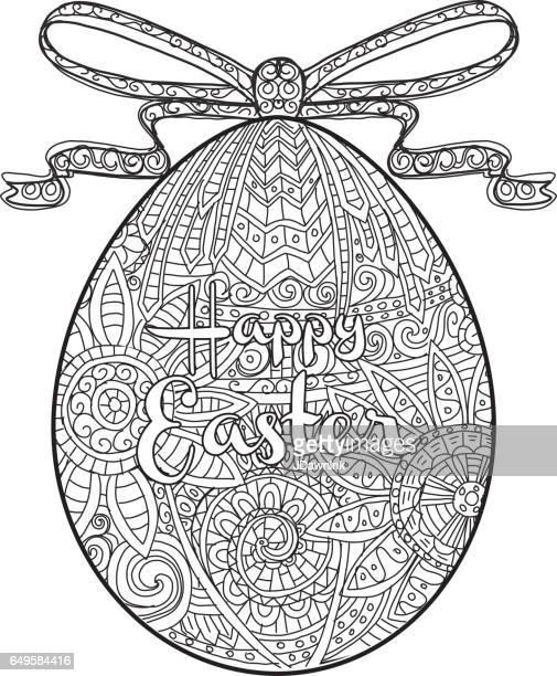 Vrolijk Pasen kleurplaat ontwerp van het ei van de pagina van het boek met tekst groet