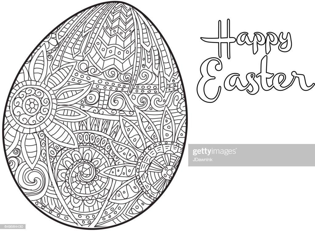Happy Easter Coloring Book Page Egg Design With Text ...