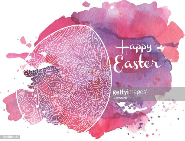 happy easter coloring book page egg design with text greeting - easter sunday stock illustrations