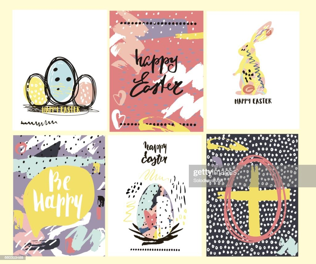 Happy Easter Creative Cards With Hand Drawn Textures Easter