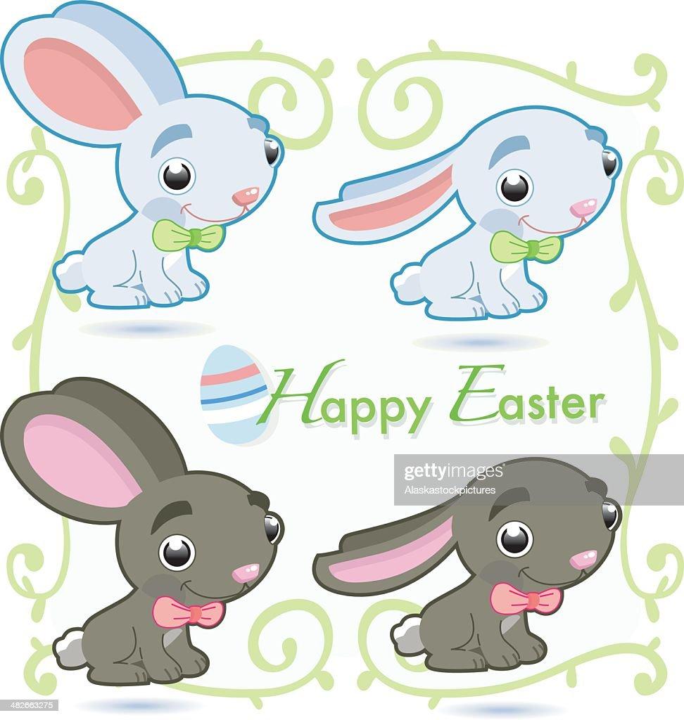 Frohe Ostern Süße Easterrabbits Vektorgrafik Getty Images