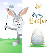 Happy Easter. Cute sports greeting card. Golf.