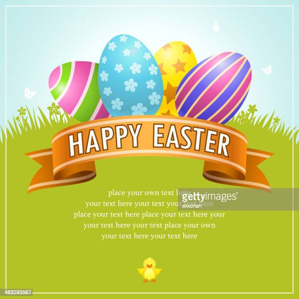 happy easter egg banner - easter egg hunt stock illustrations, clip art, cartoons, & icons