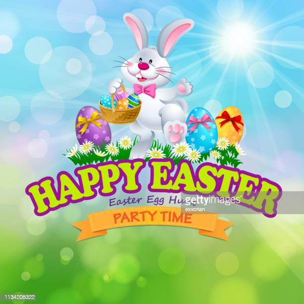 happy easter egg hunt party bunny symbol - easter bunny stock illustrations