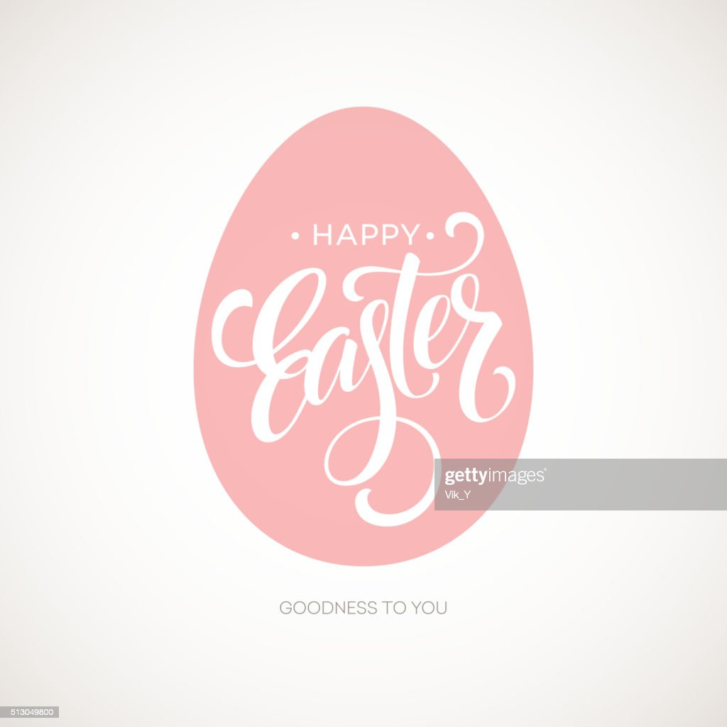 Happy Easter Egg Lettering Poster. Vector illustration