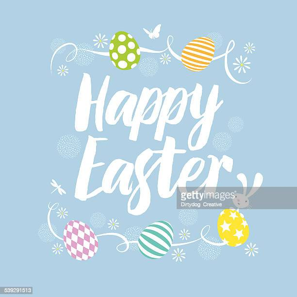 happy easter eggs and bunny - easter stock illustrations, clip art, cartoons, & icons